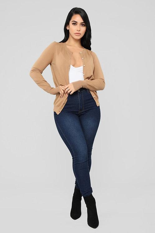 Sweater De Mujer Importado Abierto Color Beige