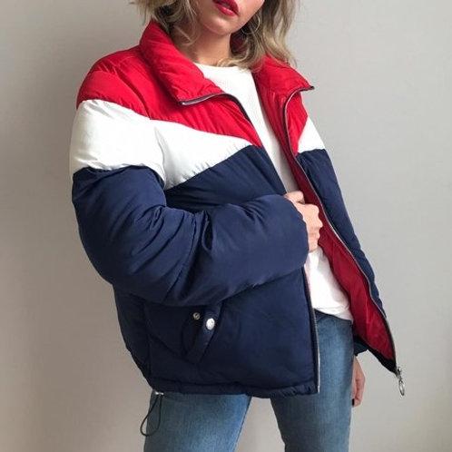 Campera Puffer Combinada Azul Rojo de Mujer