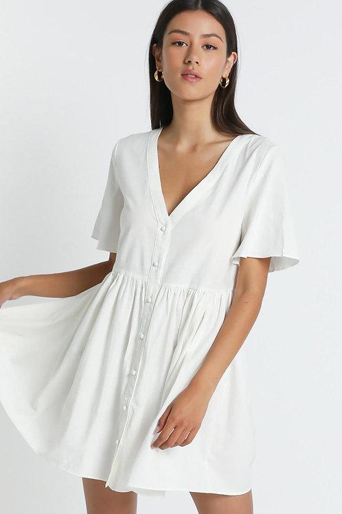Vestido De Lino Blanco con Botones
