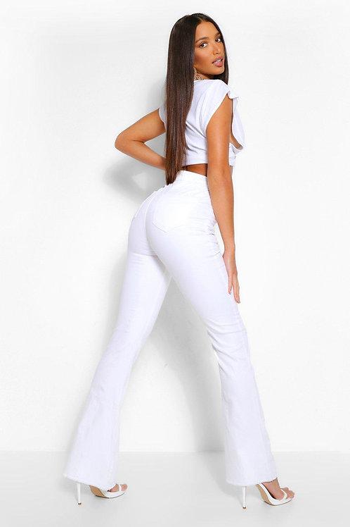 Pantalón Jeans Tiro Alto Oxford Blanco