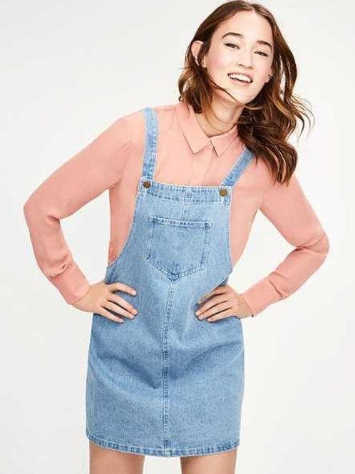 Jumper Jardinero de Mujer Pollera de Jeans Color Azul Claro