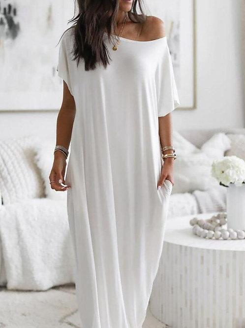 Vestido Largo Amplio Blanco Crema