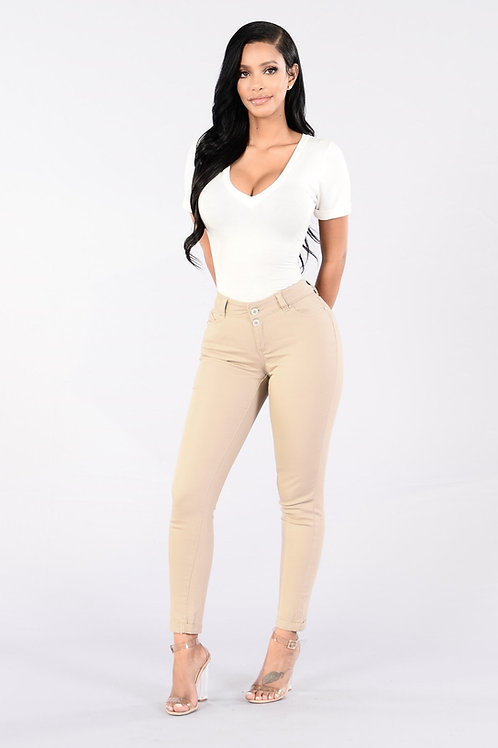 Pantalón de Vestir Beige Talle Especial