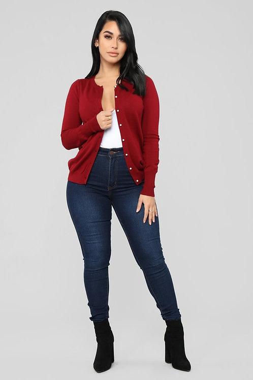Sweater De Mujer Importado Abierto Color Bordo
