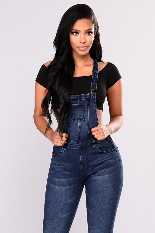 Jardinero Pantalón De Jeans Elastizado Color Azul Oscuro