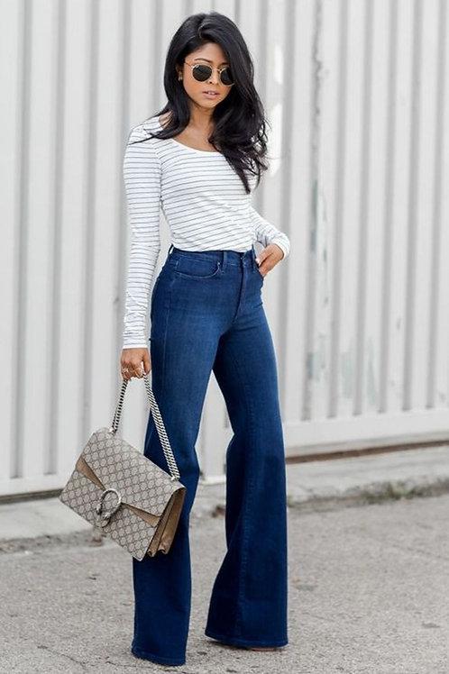 Pantalón Oxford Tiro Alto de Mujer Azul