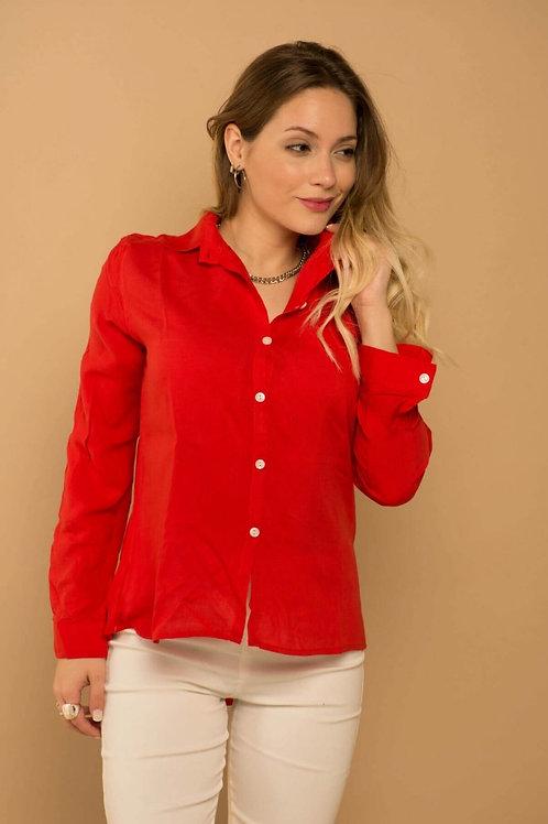 Camisa De Mujer Manga Larga Color Rojo