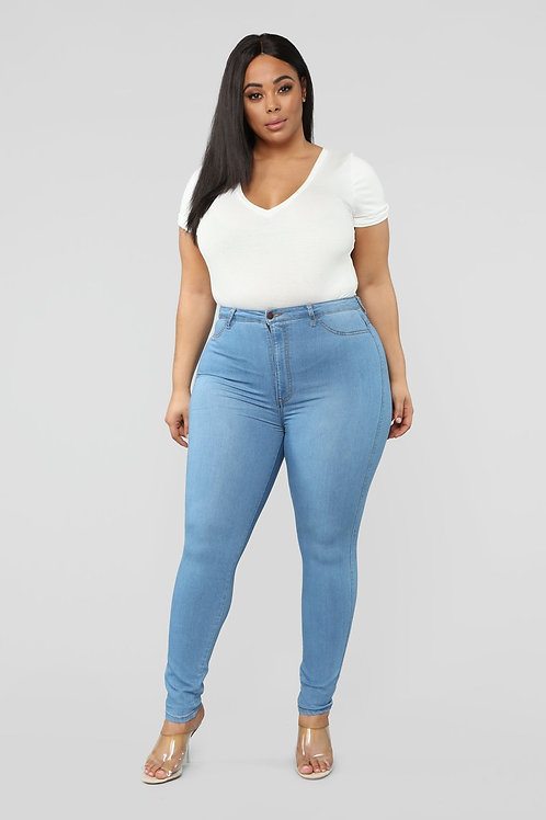 Pantalón Jeans Elastizado Celeste Talles Especiales