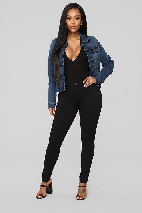 Campera De Jeans Azul Oscuro Focalizada De Mujer