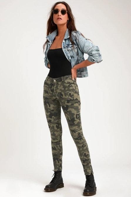 Pantalón Jeans Militar Camuflado De Mujer