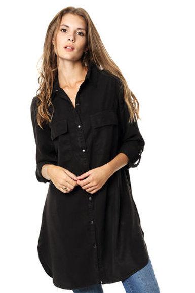 Camisa Larga De Mujer Color Negra
