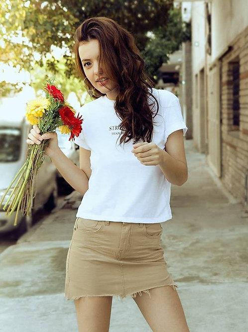 Pollera Jeans de Mujer Tiro Alto Beige