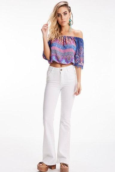 Pantalón Jeans de Mujer Oxford Tiro Alto Blanco