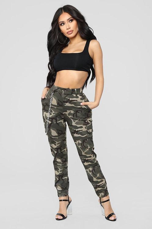 Pantalón Cargo Tiro Alto De Mujer Militar Camuflado