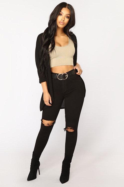 Pantalón Jeans Con Rotura En La Rodilla Negro