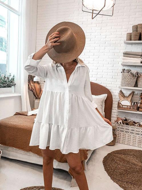 Camisola Vestido Largo Color Blanco