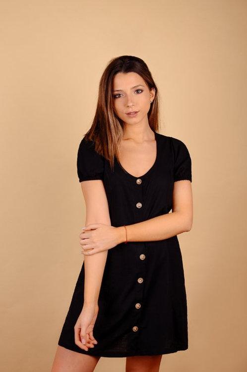 Vestido De Lino Negro con Botones