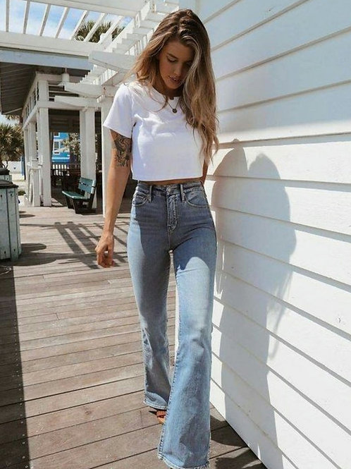 Pantalón Jeans Tiro Alto Oxford Celeste Retro