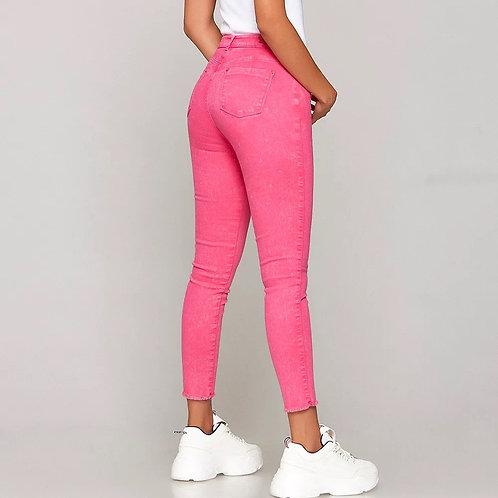 Pantalón Jeans Fucsia Elastizado de Mujer