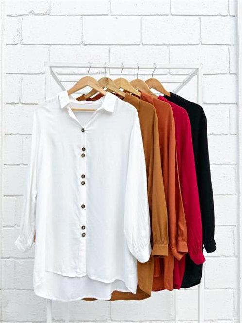 Camisa Sastrera Lisa Larga Color Negra