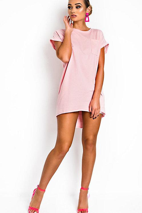 Vestido Modal Grueso Importado Con Bolsillos Rosa Nude