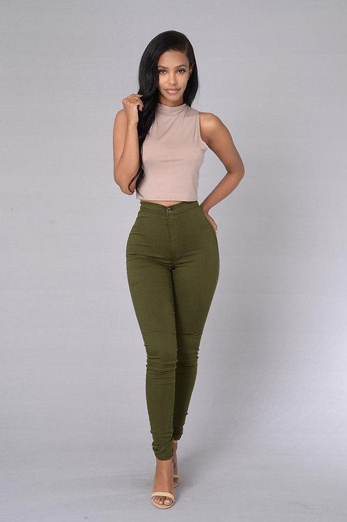 Pantalón Bengalina Elastizada Color Verde Militar