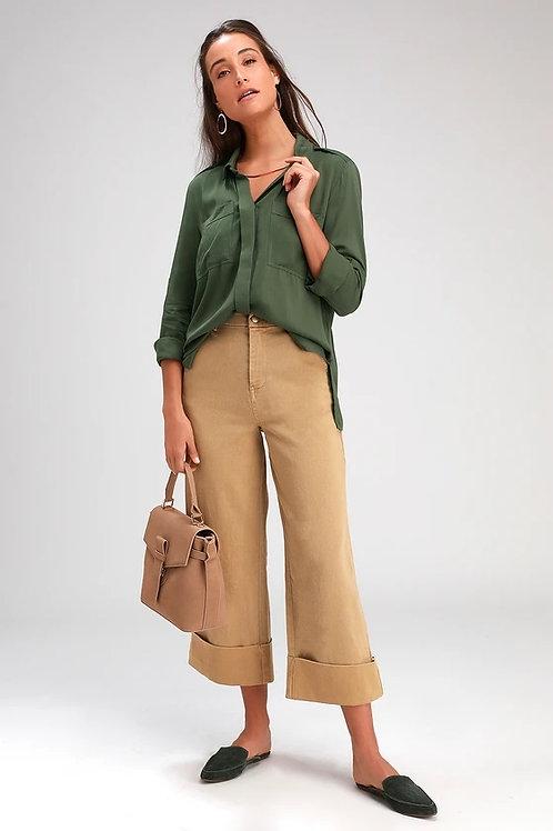 Camisa de Vestir Verde Militar de Mujer