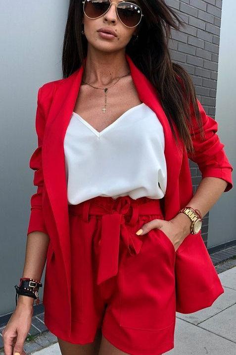 Short De Vestir Rojo Con Moño Tiro Alto