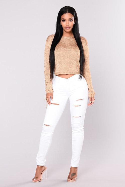 Pantalón Jeans Importado con Rotura Color Blanco de Mujer