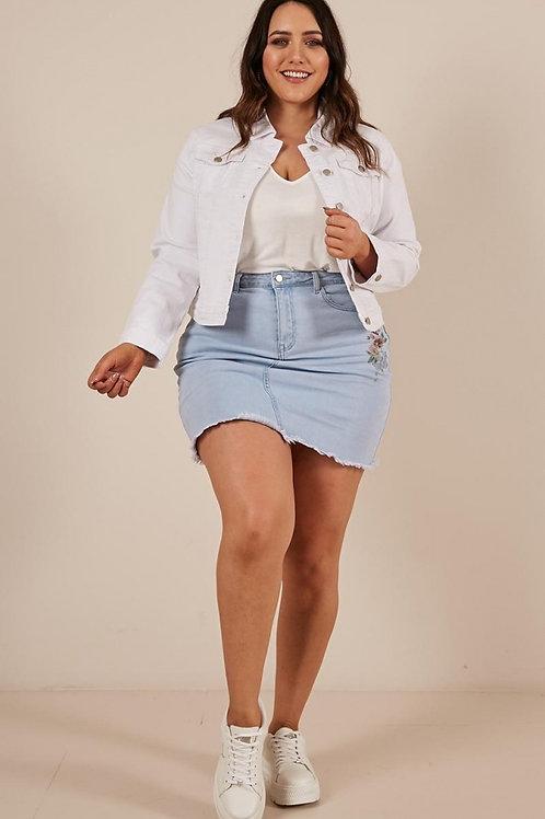 Campera De Jeans Blanca De Mujer Talles Especiales