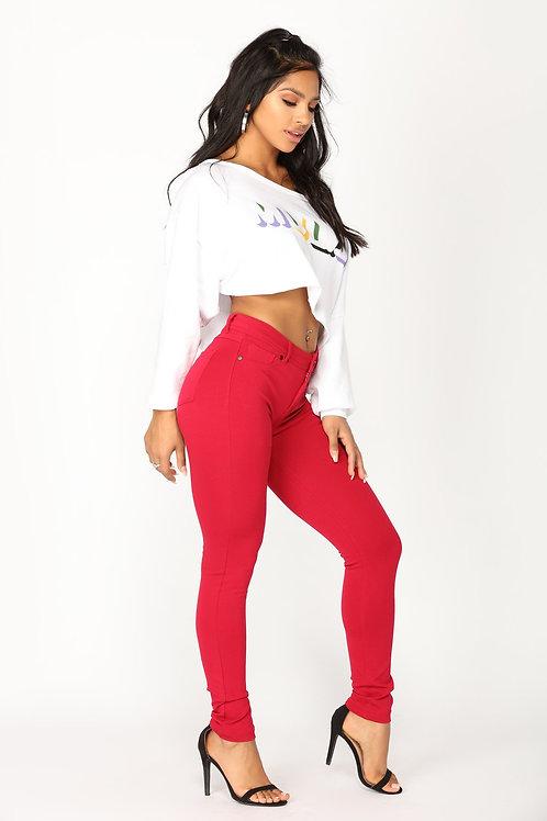 Pantalón Jeans de Mujer Rojo Elastizado