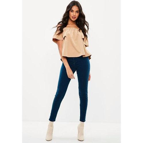 Pantalón Jeans De Mujer Chupin Tiro Alto Color Azul Marino