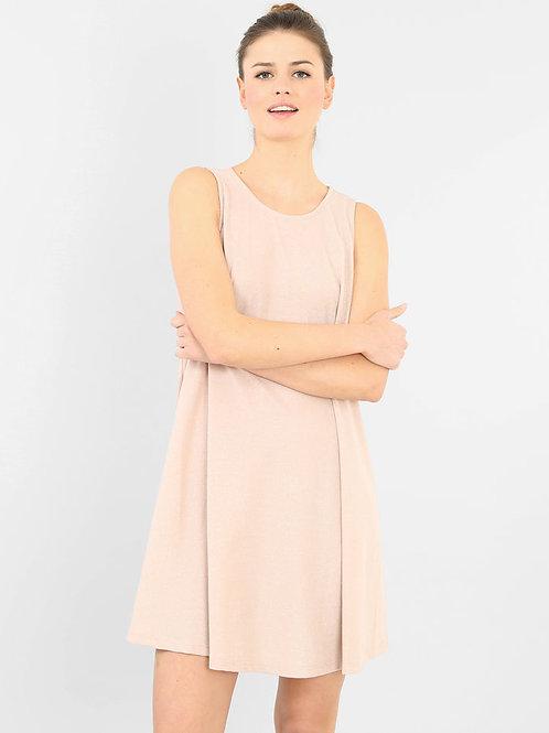 Vestido Ancho De Modal Rosa Nude De Mujer