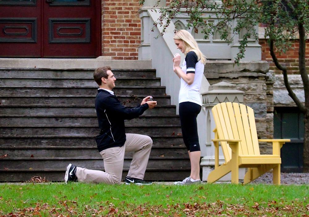 A proposal at their alma mater