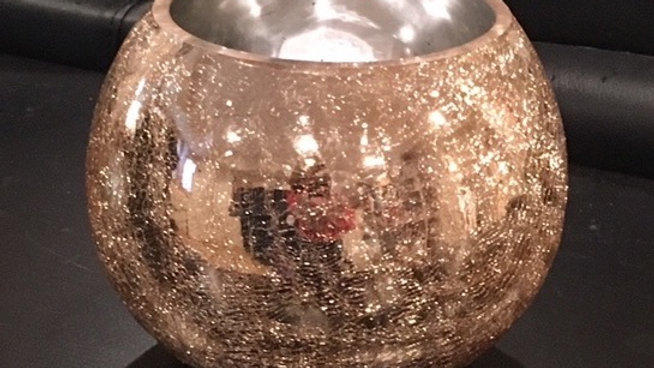 Rose Gold Crackle Finish Bowl - small