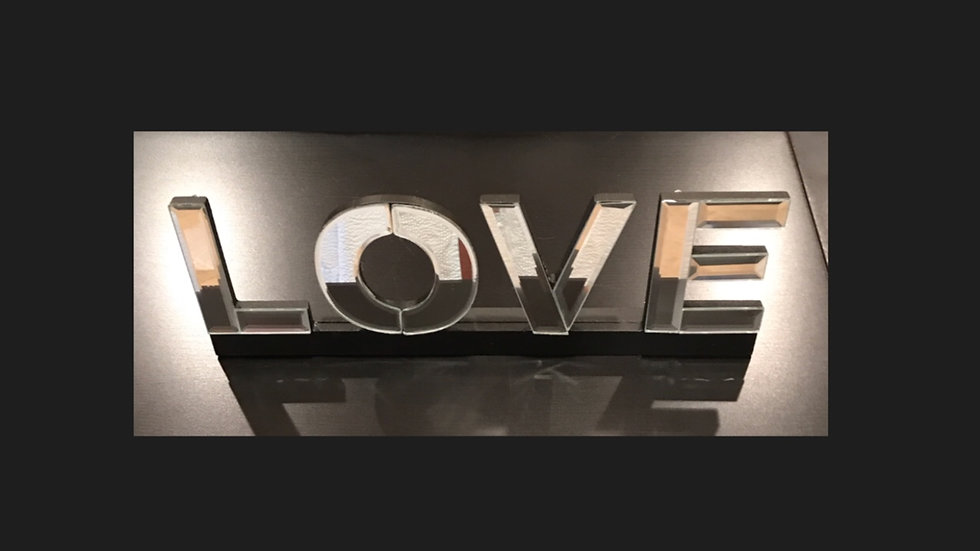 """Mirrored """"Love"""" sign"""