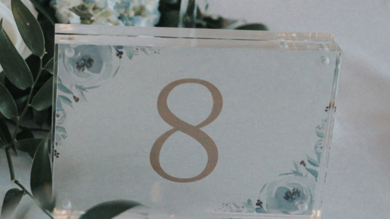 """Clear Lucite 5x7"""" Table Numbers"""