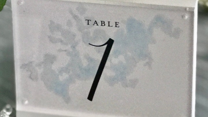 """Clear Lucite & White 5x7"""" Table Numbers"""