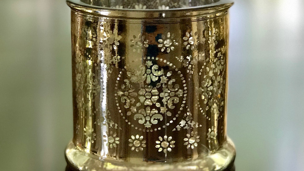 Patterned Gold Candle Holder - Small