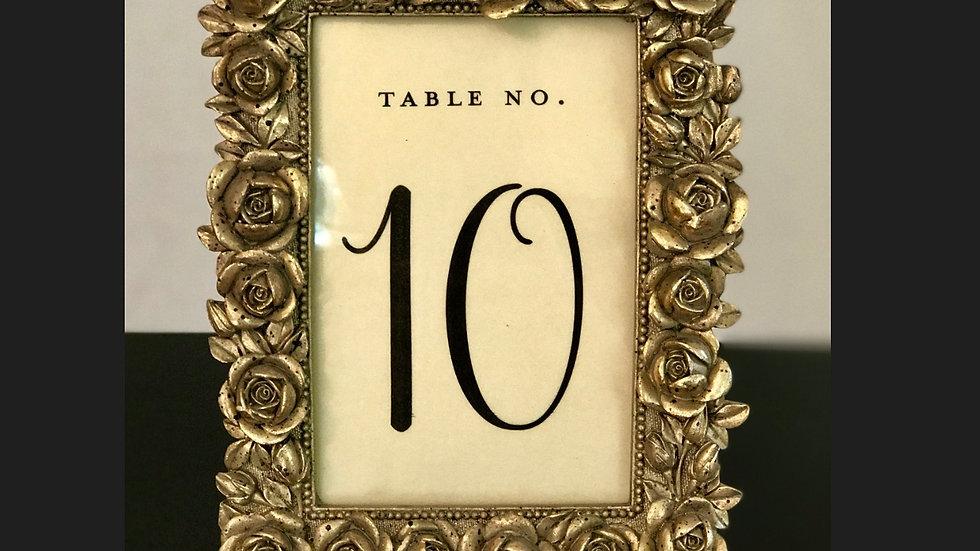 Gold Rose Table Number Frames