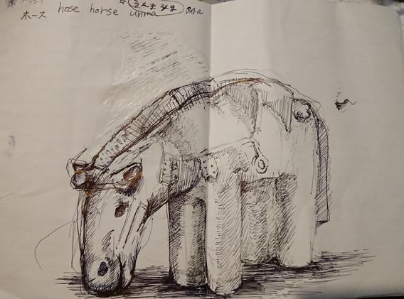 馬の作品ドローイング