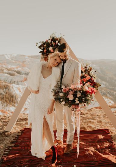 bride and groom eloping in brian head Utah