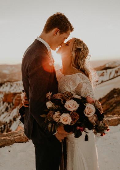 bride and groom Brian Head, UT