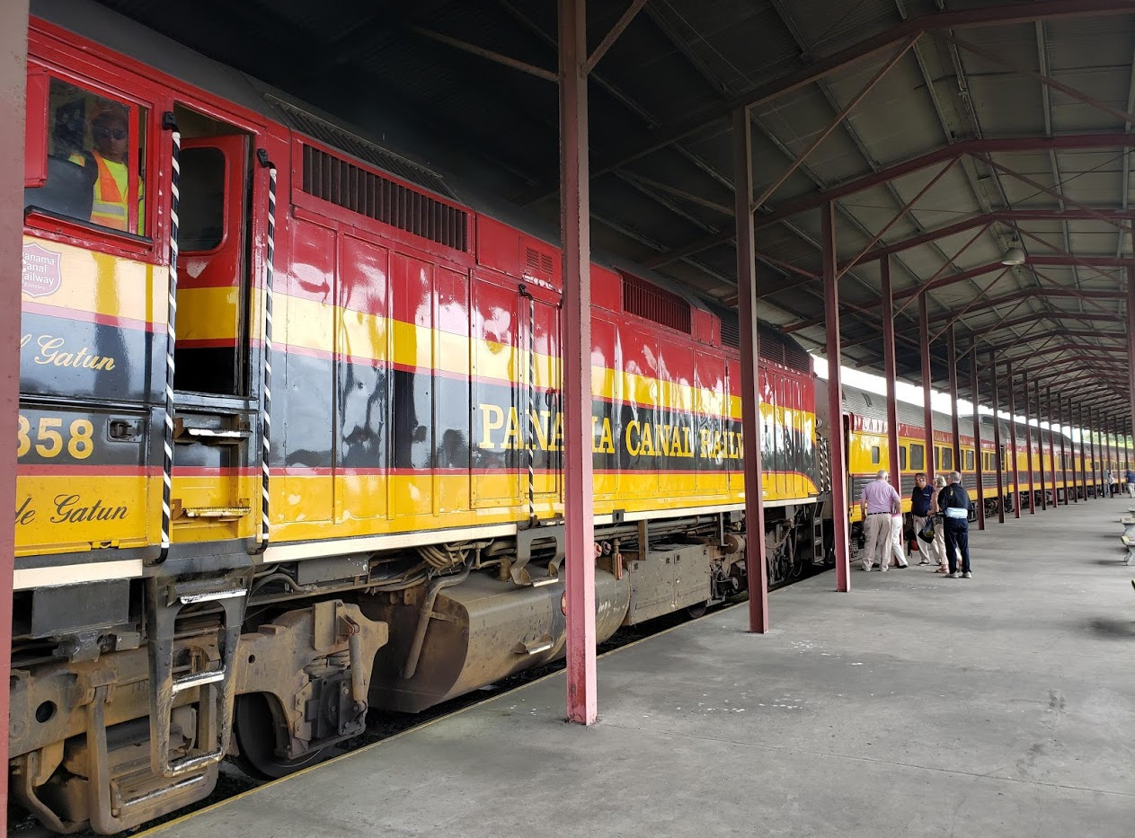 Boarding the Panama Canal Railway for our group shore excursion.