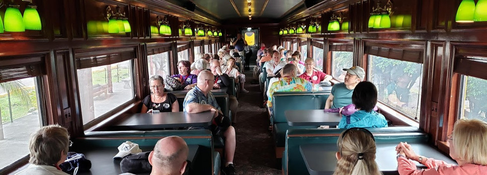 Our guests onboard their own railway car ready to go.