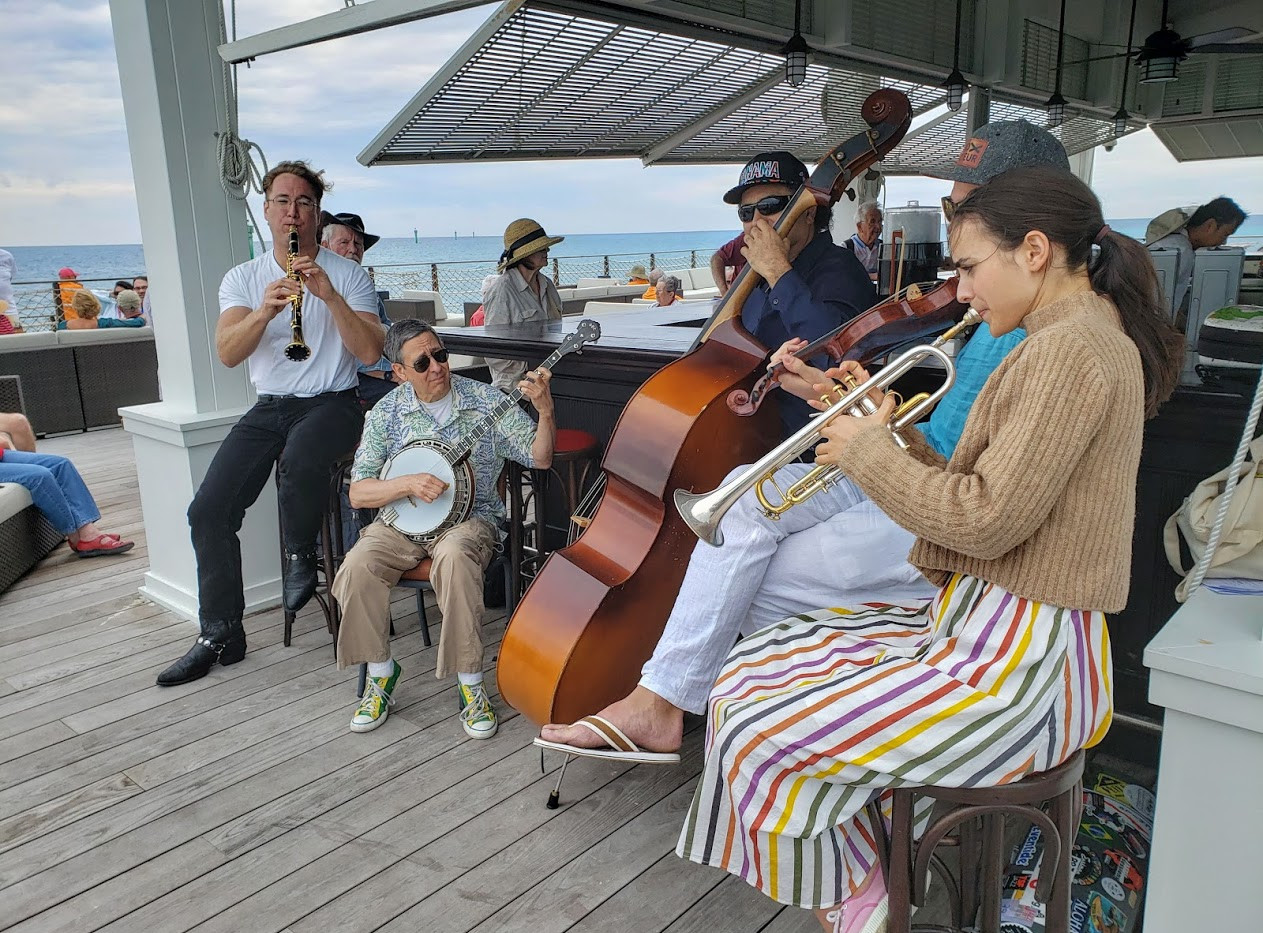 Dave Bennett, James Chirillo, Charlie Silva and Andrea Motis performing at The Lighthouse Bar on Ocean Cay.