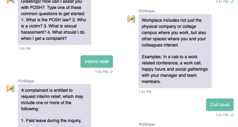 Introducing POSHpal: Chatbot for adjudicating sexual harassment cases