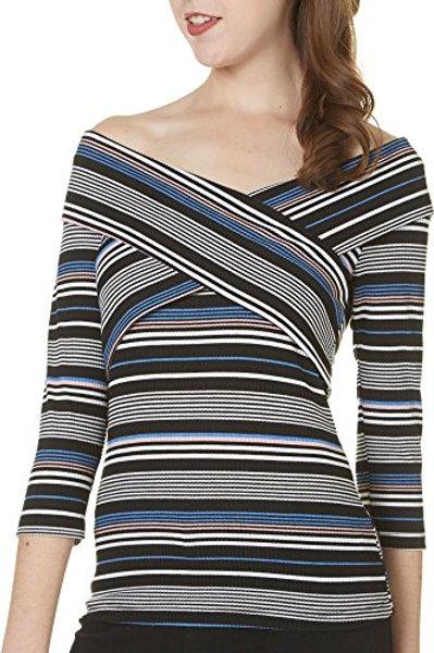 V-Neck Striped Top: $39.99