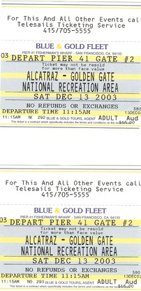 2003-Dec-13-ticket of 'Alcatraz'