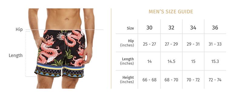 Agua Bendita size chart to find the right fit when ordering Agua Bendita men swim shorts